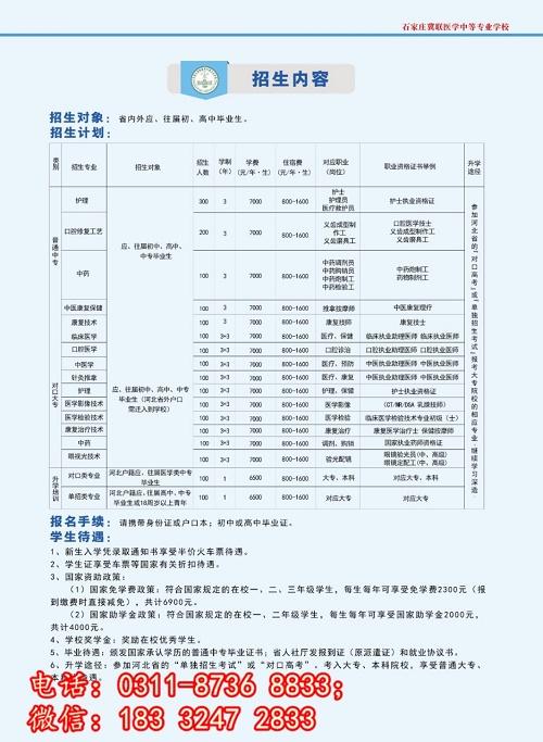 石家庄冀联医学院3+3专业有哪些?录取分数线多少?